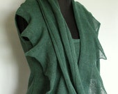 Linen Scarf Green Infinity Scarf Cowl Wrap