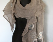 Linen Scarf Natural Gray Snail Spiral Felted Wool