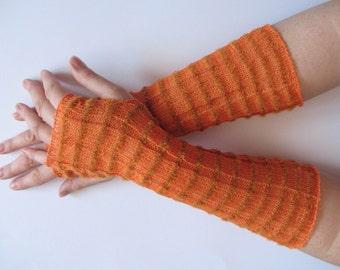 Long Wedding Orange Bridal Gloves Lace Gloves Fingerless