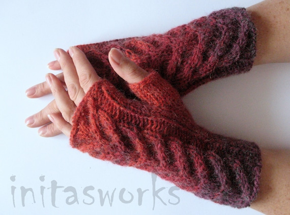 Fingerless Gloves Gray Red Burgundy wrist warmers