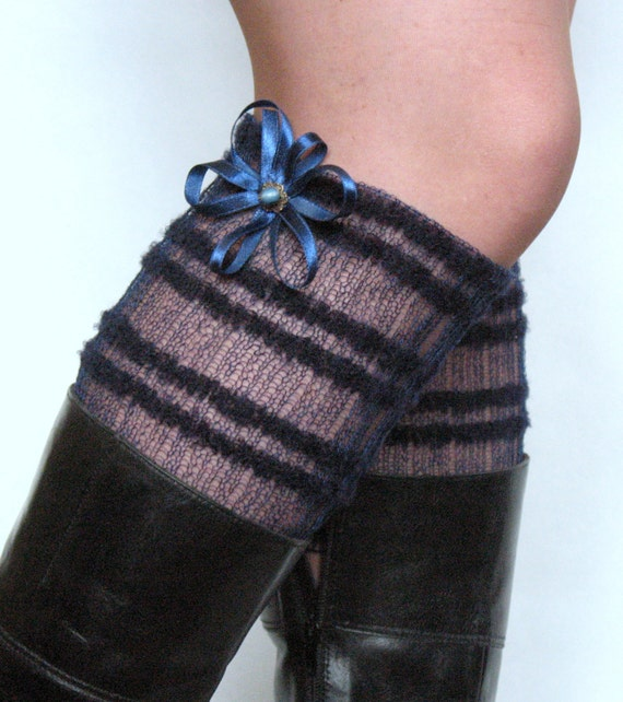 Lace Linen Boot Cuff Boot Toppers Leg Warmers Striped Blue Boot Socks Knit Legwarmers Cable Knitted