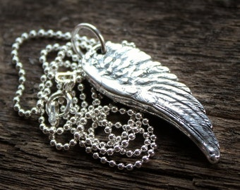 Angel Wing Unisex Necklace In Fine Silver, Statement Necklace, Long Chain, Memorial Necklace - Angel Necklace