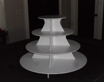 "Cupcake Stand - 4 Tier - Round cupcake stand - Scallop Cupcake Stand - 10, 15, 20, 25"" Plates"