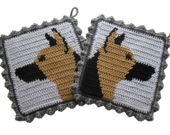 German Shepherd Pot Holders. Crochet potholders with shepherd dogs. Dog decor