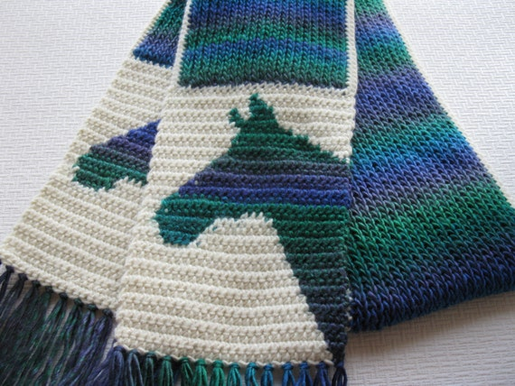 Horse scarf. Peacock colors knit scarf with horses for women.