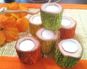 Painted Tree branch candles - Tree slices - Wood candles - painted candles - home decor