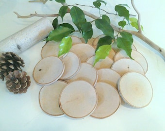 "100  3"" Natural White birch tree slices -  Rustic wedding decor - DIY projects- Save the date - Name tags - Birch logs - Wood tree slices"