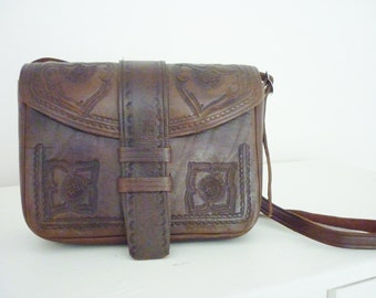 Vintage Western Tooled Leather Handbag