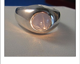 Vintage 14k Blue Star Sapphire Gypsy Style Ring - Gorgeous 6 Ray Star