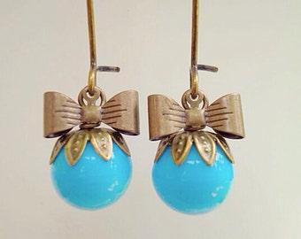 Sky Blue Czech Glass Sweet Pea Earrings/Bow Earrings/Blue Earrings/Czech Glass Earrings
