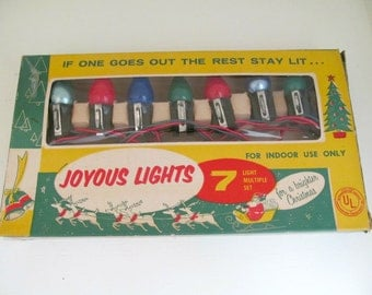 Vintage 1950s Joyous Christmas Lights with Clips in Original Box, 7 Working Lamps, Retro Christmas Tree Lights