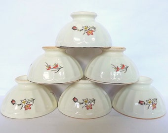 French pottery bowls - a set of 6 with floral decoration