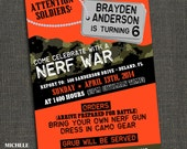 NERF WAR - Boys Camo Birthday Party Invitation - PRINTABLE