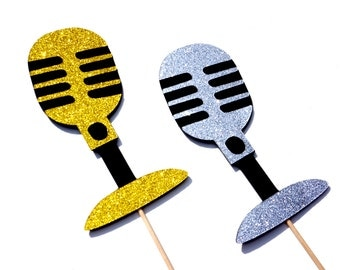 Photo Booth Props - GLITTER Retro  Microphones - Set of 2 - Silver and Gold GLITTER Photobooth Props