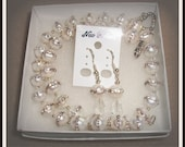 Bridal Fresh Water Pearl Necklace And Earrings Set