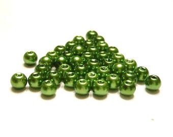 25 Glass - Glossy Moss Green, 8 mm Glass Pearls, Spacer Beads
