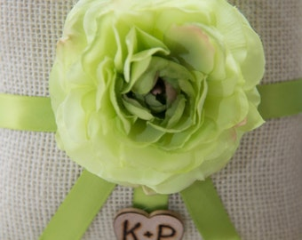 Shabby chick Personalized Ring bearer pillow featuring green flower with Bride & Groom Initials over 60 flowers to select from