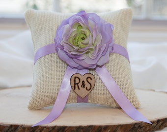 Purple Lavender ranunculus custom flower natural burlap ring bearer pillow  shabby chic with engraved initials... many more colors available