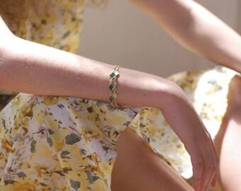 Gold Chain Bracelet, Geometric Jewelry, Everyday Bracelet, In Emerald green, Mint green, Black enamel, BY SHUNA JEWELRY