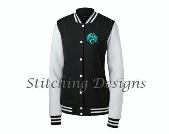 Varsity jacket women,  Monogram Letterman Sweatshirt, Monogram Letterman jacket, School Colors - LADIES jacket - 9 Colors, Sizes XS - 4X