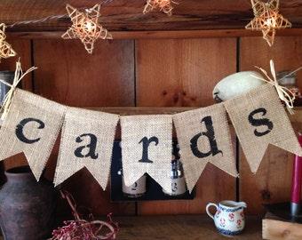 Cards Burlap Bunting, Wedding Cards Banner, Wedding Decor, Photo Prop, Wedding Bunting, Bridal Bunting, Burlap Cards Bunting, Bridal Shower