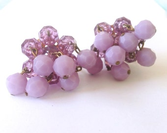 Lilac Cha Cha Earrings Purple Summer Spring Retro Mad Men Vintage Jewelry