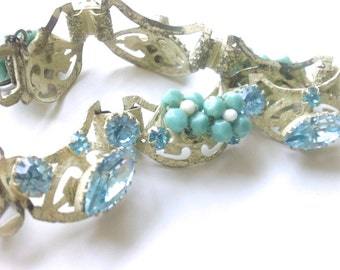 Original by Robert Bracelet White & Blue Brides Wedding Vintage Retro Fashion Accessories