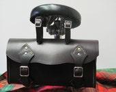 black leather saddle bag, black leather bike bag, saddle bag, Quality leather bike bag. bike tool bag, black leather tool bag