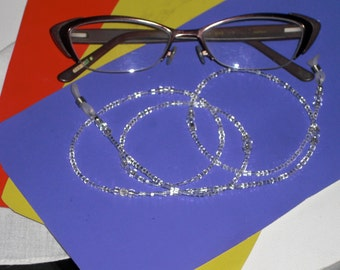 "Eyeglass Chain White on White Glass Seed Beaded with Swarovski Crystal Accents 28"" Handmade in USA Light Strong"