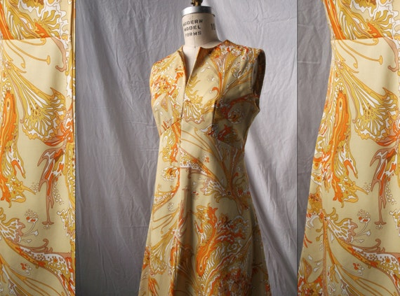 1970s Hawaiian Abstract Lava Print MIni Dress by Liberty Circle medium