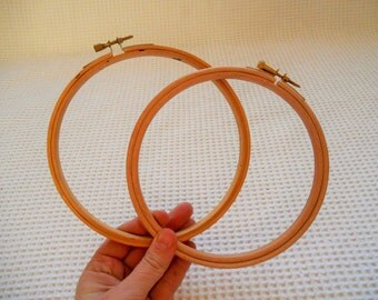 """2 Embroidery Hoop Small Circles 6"""" inch Wooden Craft Supplies"""