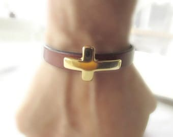 Leather Cross Bracelets with Gold Hook Clasp