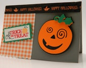 Handmade Greeting Card, Halloween, Trick Or Treat, Jack- O- Lantern, Black And Orange, Die Cut