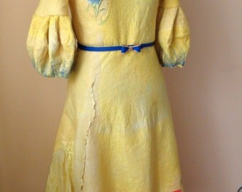 "Nuno felted  Dress "" yellow Floral"""