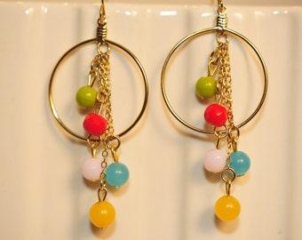 Handmade Vintage Multi Color Bead Drop Earrings