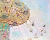 Summer Swings- Fair Photography, Carnival Ride Photo Childrens Nursery Decor Fair Swings Pastel Colors, Whimsical Print, 8x10 Fine Art Print