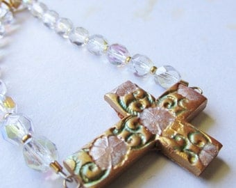Gold Floral Sideways Cross Bracelet with Crystal AB Beads