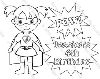 personalized printable superhero super hero girl birthday party favor childrens kids coloring page book activity pdf or jpeg file - Superhero Coloring Pages Boys