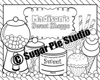 PRINTABLE Personalized Sweet Shoppe Birthday Party Favor Placemat Childrens coloring page activity PDF or JPEG file