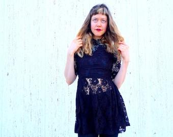 Vintage 1950s black lace dress goth