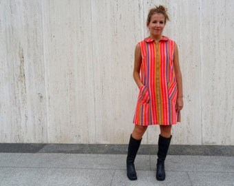 Vintage striped tent dress. minidress. summer dress. festival dress. music festival. burning man dress.