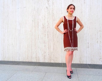 Vintage 1960s brown dress gogo dress