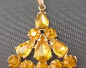 Sale! Vintage Pendant - Rhinestone Pendant - Gold and Deep Yellow Rhinestones
