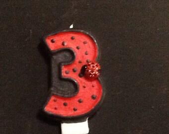 Ladybug Birthday Candle - painted candle birthday candle cake topper cake candle birthday party party decoration ladybug