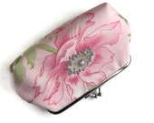 Florals kiss lock purse , kisslock wallet , metal frame purse ,  pink poppy purse