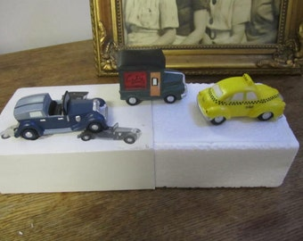 Heritage Village Collection Automobiles set of three. Handpainted Porcelain New In Box.