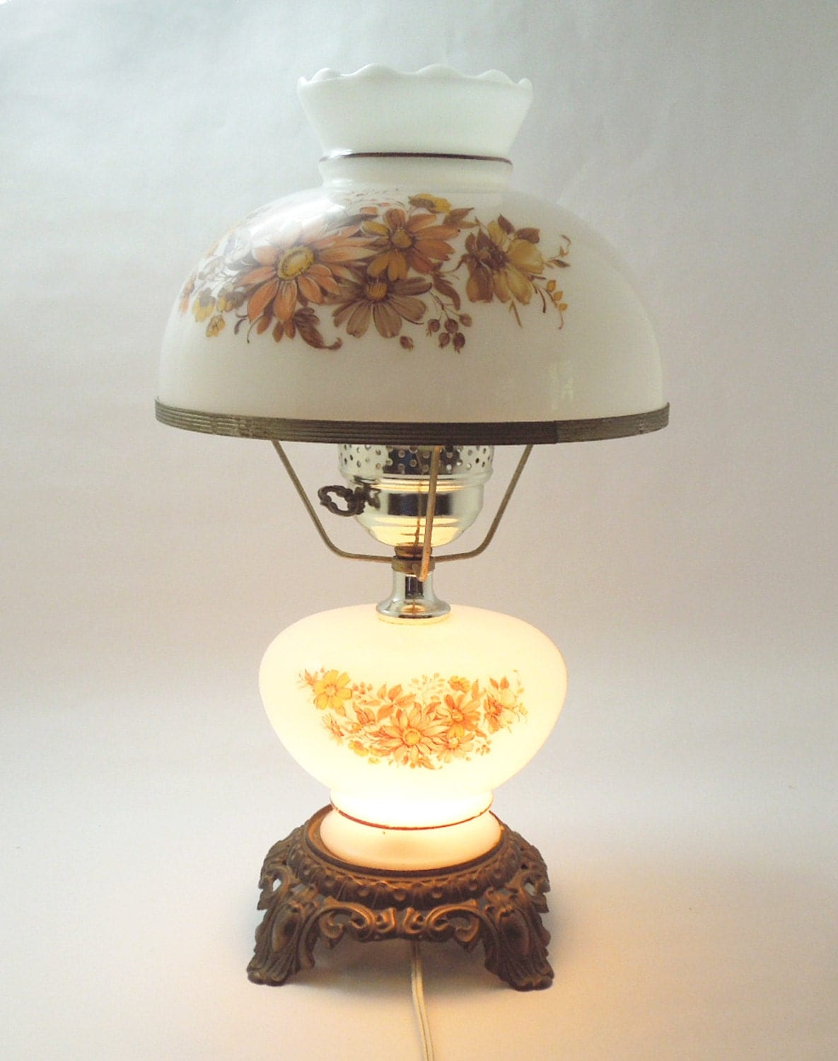 Vintage Hurricane Lamp And Night Light With Hand Painted