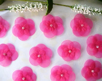 Fuchsia Organza Flower Appliques with Iridescent Bead Flat Back for Sewing, Crafting, Headbands, Embellishment, 1.25 inches /32 mm, 20 pcs