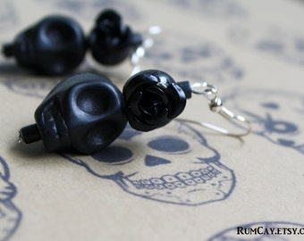 Day of the Dead Sugar Skull earrings - Dia de Los Muertos, Frida Kahlo, Halloween, Rockabilly