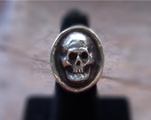 Sterling Silver Heavy Metal Biker Skull Ring